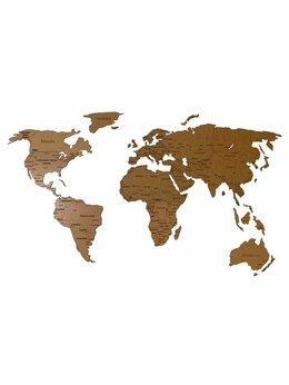 Гравюры, литографии, карты - Деревянная карта мира с гравировкой стран и…, 0