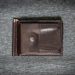 Кошельки - Зажим для купюр кожаный с монетницей.Ручная работа, 0