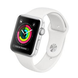 Наручные часы - Apple Watch 3 (38мм) серебристый с белым ремешком, 0