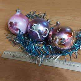 Ёлочные украшения - Елочные игрушки СССР 70-80ее стетящиеся большие стекляные шары, 0