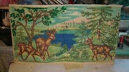Картины, постеры, гобелены, панно - Картина вышитая крестом (мулине ) Мама с оленятами, 0