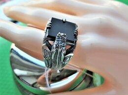 Кольца и перстни - Серебряное кольцо печатка с лидитом (яшмой), 0