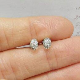 Серьги - Золотые серьги (пусеты) с бриллиантами 0,048ct, 0