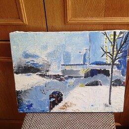 Картины, постеры, гобелены, панно - Картина Этюд Город холст на подрамнике акварель, 0