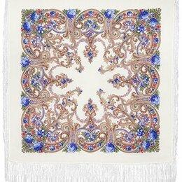 Шарфы и платки - Платок с павловопосадским узором и бахромой, 0