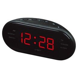 Часы настольные и каминные - Часы + радио красные цифры VST902-1 , 0