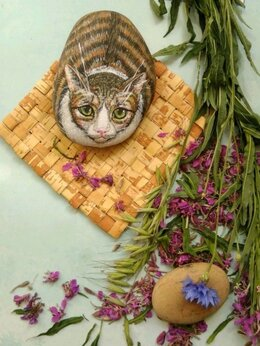 Садовые фигуры и цветочницы - Кот камень скульптура кошка декор, 0