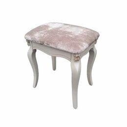 Пуфики - Пуфик с серым мягким сиденьем айвори с патиной…, 0