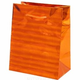 Подарочная упаковка - Пакет подарочный Голография-2 26х32 см, оранжевый, 0