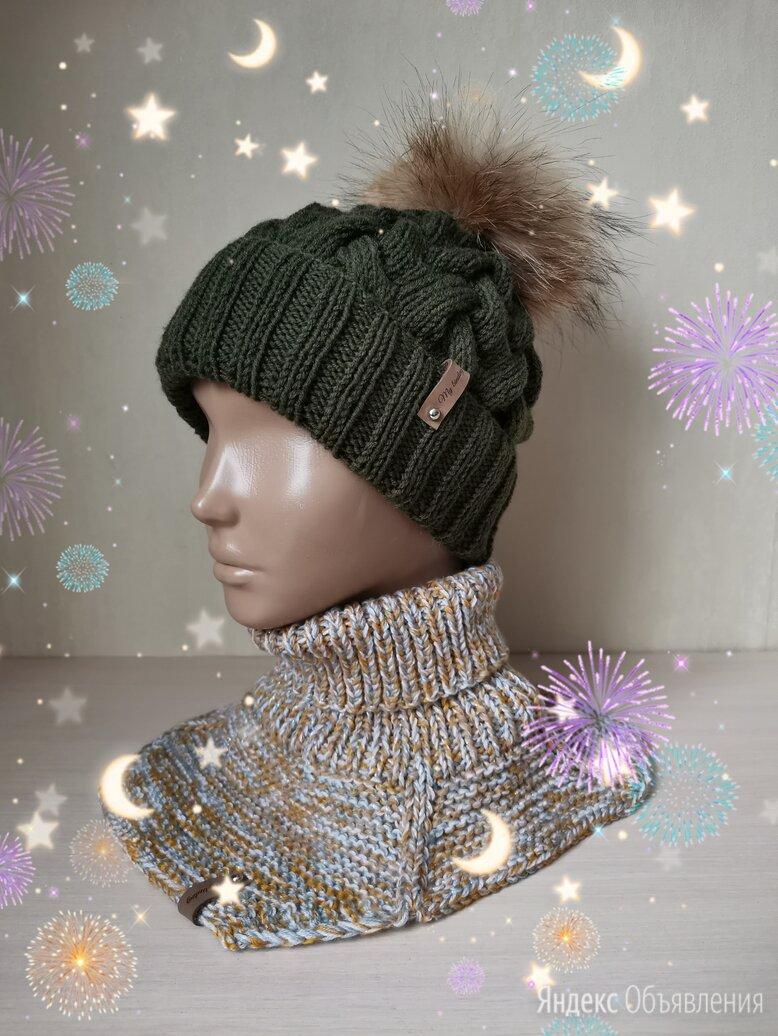 Вязаная шапочка с помпоном (ручной работы)  по цене 1250₽ - Головные уборы, фото 0