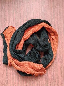 Шарфы и платки - Шарф с рукавами вязаный двухцветный, 0