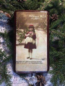 Новогодний декор и аксессуары - Новогоднее винтажное панно-вешалка для веночка, 0