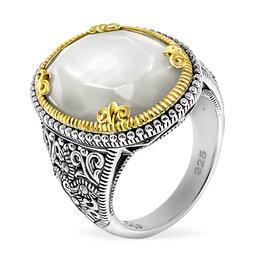 Кольца и перстни - Серебряное кольцо с перламутром, марказитами…, 0