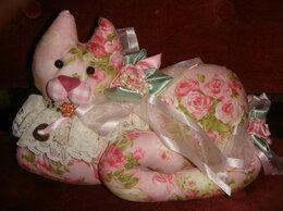 Сувениры - Игольница игрушка кошка розовая винтаж Англия, 0