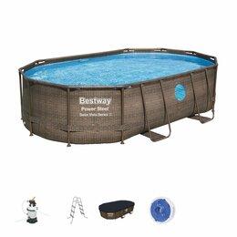 Бассейны - Каркасный овальный бассейн ротанг 488х305х107см,…, 0