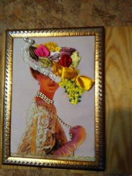"""Картины, постеры, гобелены, панно - Картина вышитая лентами - """"Дама в шляпке"""", 0"""
