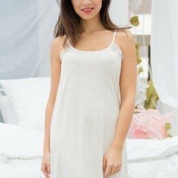 Домашняя одежда - Сорочка женская вискозная свободного кроя на бретелях, молочный, 0