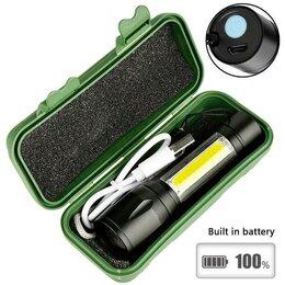 Фонари - Аккумуляторный  линзованный фонарик с зумом , 0