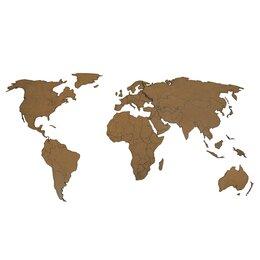 Картины, постеры, гобелены, панно - Деревянная карта мира 80х40 см (Коричневая), 0