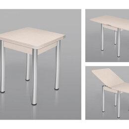Столы и столики - Стол ломберный шимо светлый + ноги хром, 60(+60)*60, 0