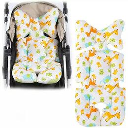 Аксессуары для колясок и автокресел - Новый толстый чехол - вкладыш (белый с жирафами), 0