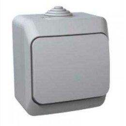 Электроустановочные изделия - Выключатель накладной 1кл серый влагозащитный IP44, 0