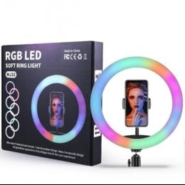 Фотоаппараты - Кольцевая RGB лампа 33 см со штативом , 0