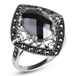 Кольца и перстни - Серебряное кольцо с гематитом и марказитами…, 0
