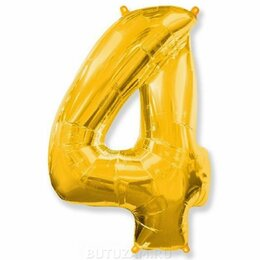 """Украшения и бутафория - Воздушный шарик 28""""/70 см Цифра 4, золото, 0"""
