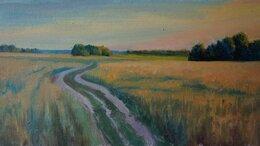 """Картины, постеры, гобелены, панно - Картина маслом """"Закат в поле"""", 0"""