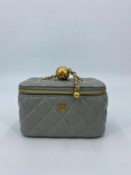 Косметички и бьюти-кейсы - Косметичка Chanel кожа серая женская новая, 0