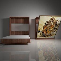Кровати - Подъемная двуспальная кровать в шкафу 160х200. Взрослая с фотопечатью Ф-1, 0