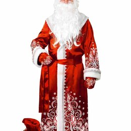 Карнавальные и театральные костюмы - Костюм Дед Мороз сатин аппликация красный, 0