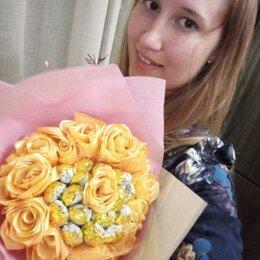 Цветы, букеты, композиции - букет из конфет и роз из лент, 0