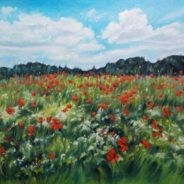 Картины, постеры, гобелены, панно - Маковое поле.Летний день. Масло, 40*50. Луг,лето,цветы,пейзаж, 0