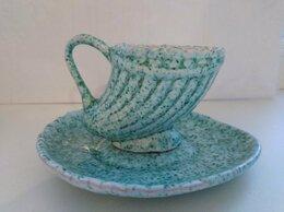 Кружки, блюдца и пары - Кофейная  пара рог изобилия чашка блюдце малахит, 0