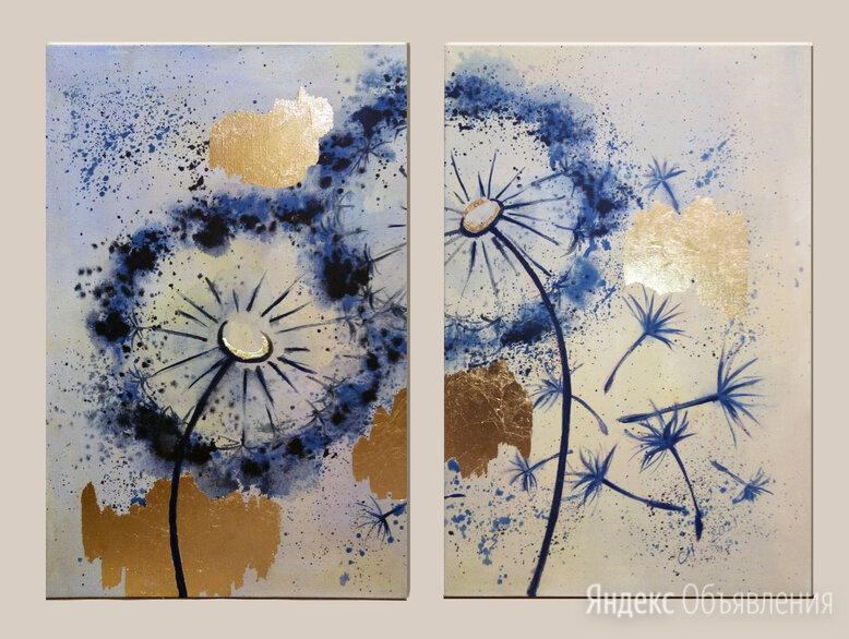 """Интерьерные картины (диптих) """"Одуванчики"""" по цене 6000₽ - Картины, постеры, гобелены, панно, фото 0"""