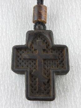 Кулоны и подвески - Нательный крест из дерева резной, 0