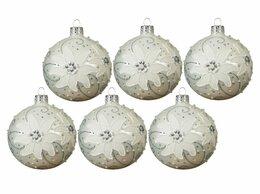 Ёлочные украшения - Набор стеклянных шаров СНЕЖНЫЕ ЭДЕЛЬВЕЙСЫ, 8 см,…, 0