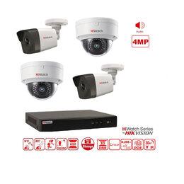 Готовые комплекты - Видеонаблюдение на 4 камеры AUDIO 4MP (IP-POE)., 0