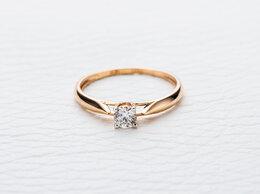 Кольца и перстни - Кольцо с бриллиантом из красного золота, 0