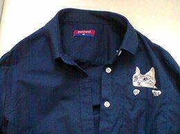 Рубашки и блузы - Рубашка на девочку с кошкой в кармане M размер, 0