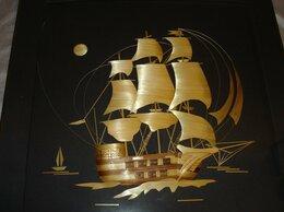 """Картины, постеры, гобелены, панно - Картина из соломки""""Фрегат Паллада"""". 1976г.,…, 0"""