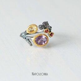Кольца и перстни - Кольцо с натуральным аметистом. Чернёное серебро…, 0