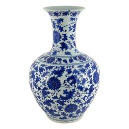 Вазы - Ваза керамическая бело-голубая 26х42 см…, 0