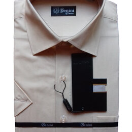 Рубашки - Бежевая классическая рубашка Benini, короткий рукав, 0