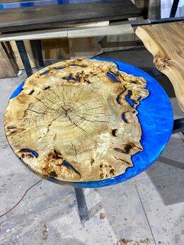 Столы и столики - Круглый стол-река из слэба с эпоксидной смолой, 0