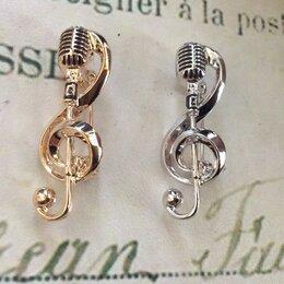 Броши - Скрипичный ключ, микрофон, Музыка, брошь, 0