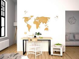Картины, постеры, гобелены, панно - Деревянная карта мира мини формата 80х40 см (дуб), 0