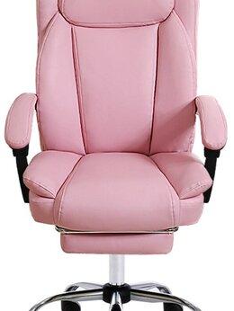 Компьютерные кресла - Эргономичное кресло экокожа розовое, 0
